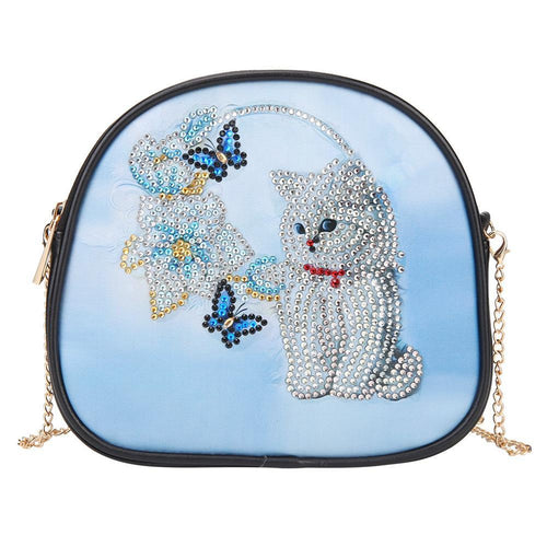 DIY Cat Special Shaped Diamond Leather Chain Shoulder Bag