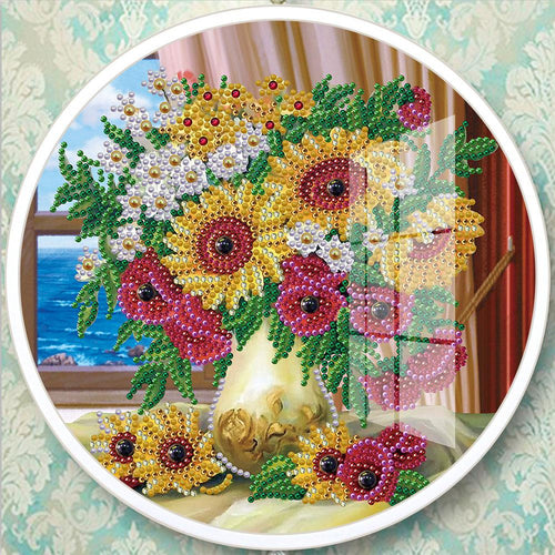 Sunflower Mural Pink Tassels Special Shape DIY Diamond Painting Home Decor