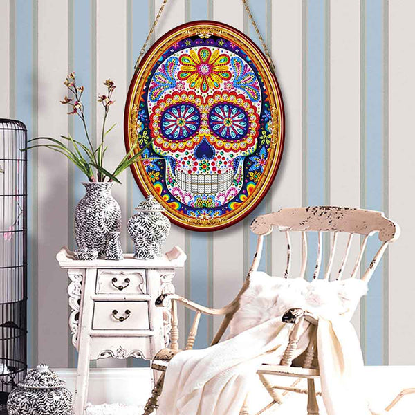 Special Shape Skull Leather Mural Wallation