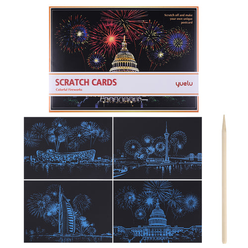4pcs Fireworks - Doodle Scraping Painting 29x21cm