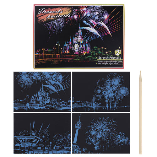 4pcs Fireworks Series - Doodle Scraping Painting 20x14cm