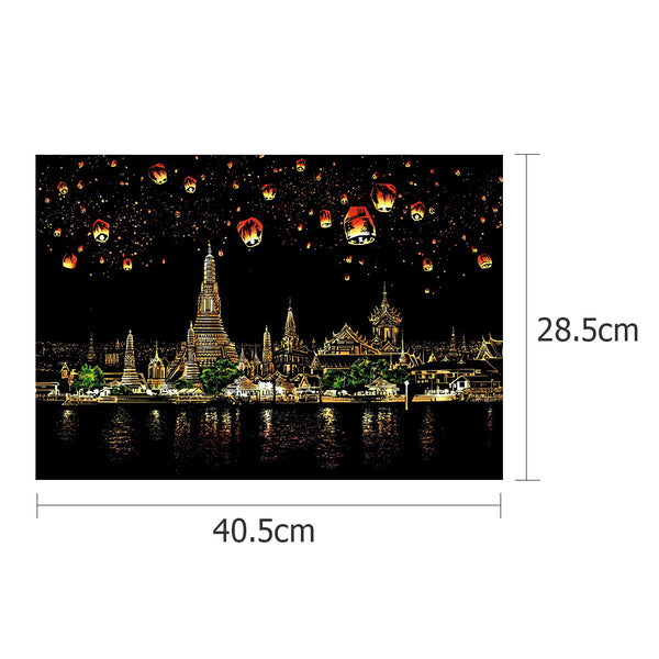 Chiangmai Night Scene - Doodle Scraping Painting 40.5x28.5cm