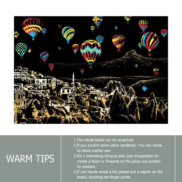 Shiny Hot Air Balloons - Doodle Scraping Painting 40.5x28.5cm