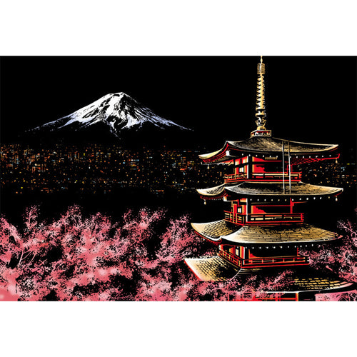 Mount Fuji Colorful - Doodle Scraping Painting 40.5x28.5cm