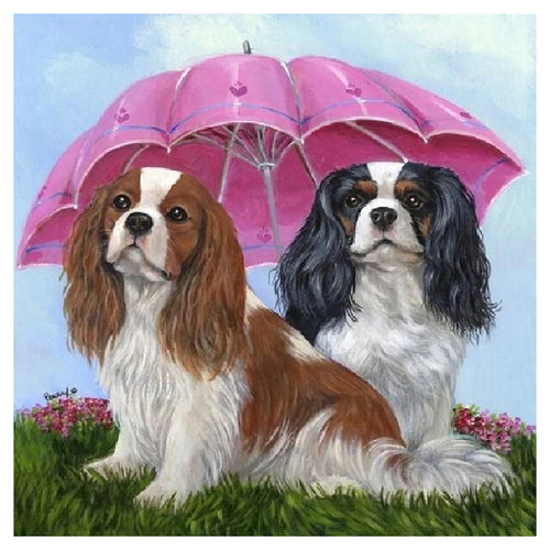 Umbrella Dogs Animal - Full Diamond Painting - 40x40cm