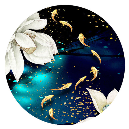 Fish Pond Lotus - Full Round Diamond - 40x40cm