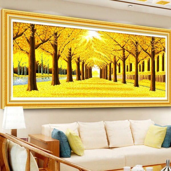 5D DIY Full Drill Diamond Painting Yellow Larch Cross Stitch Embroidery Kit