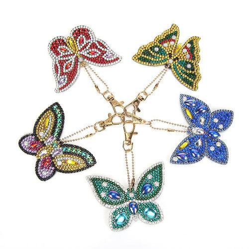 5pcs DIY Butterfly Full Drill Special Shaped Diamond  Keychain