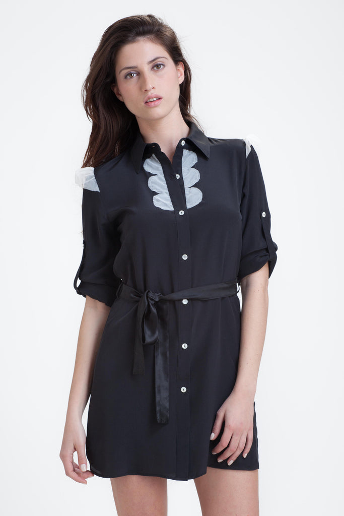 Combo Shirtdress in black