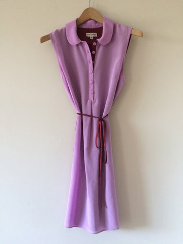 Colorblock Sleeveless Shirtdress Lavender/Cinnamon