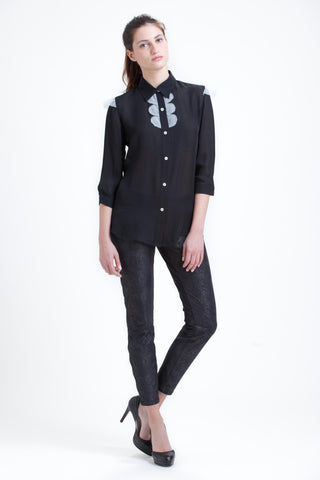 Combo Blouse in Black with Cream
