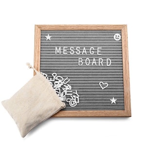 House of Aster Gray Felt Letter Board Wooden Frame Changeable Numbers and Characters Message Boards for Home Office signs