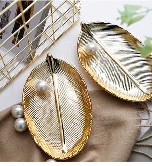 House of Aster Gloden Ceramic Leaves Plate Tree Leaf Jewelry Ring Silver Storage Tray Rose Gold Ceramics Jewelry Enamel Trinket Dish House of Aster