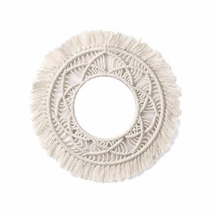 House of Aster Handmade Bohemian Fringed Wall Frame Tapestry Macrame Ceremony Backdrop Wall Art Frame For Home Living Room Decoration