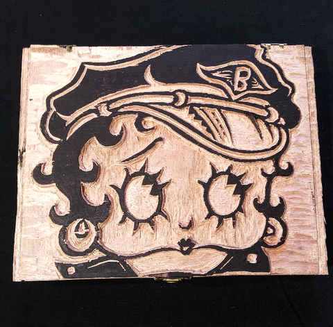 Biker Betty Hand Carved Stashbox