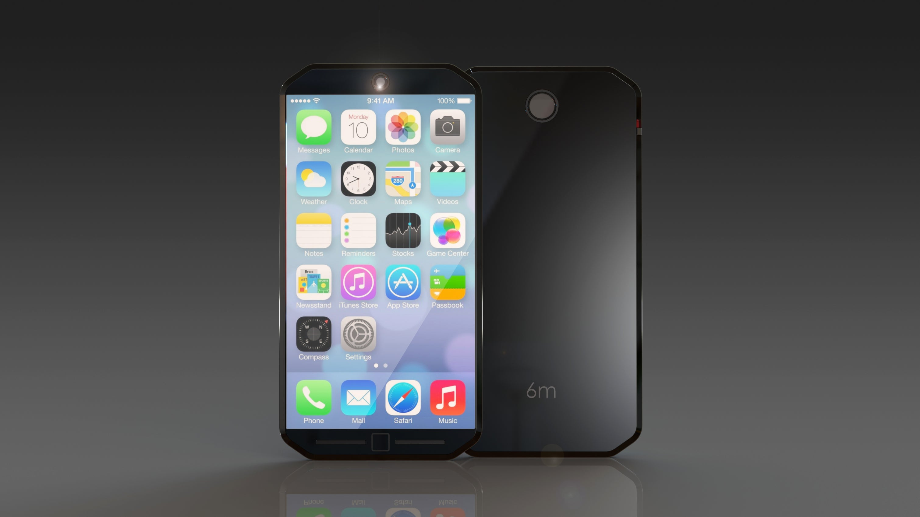 iPhone 6 m Concept Front and Back View Black