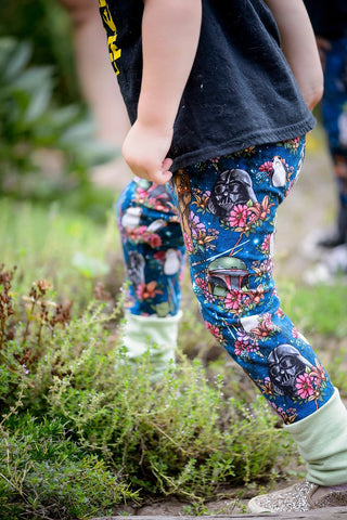 Blue Galaxy Floral Wars Grow-With-Me Pants