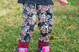 Black Galaxy Floral Wars Grow-With-Me Pants