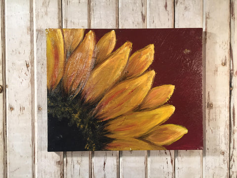 Sunflower with Maroon Background