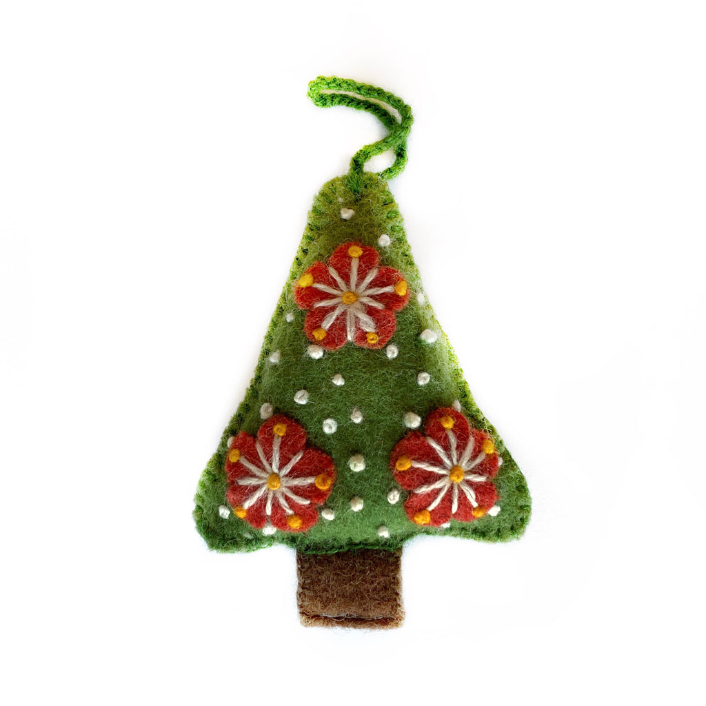 Green Tree Embroidered Wool Ornament