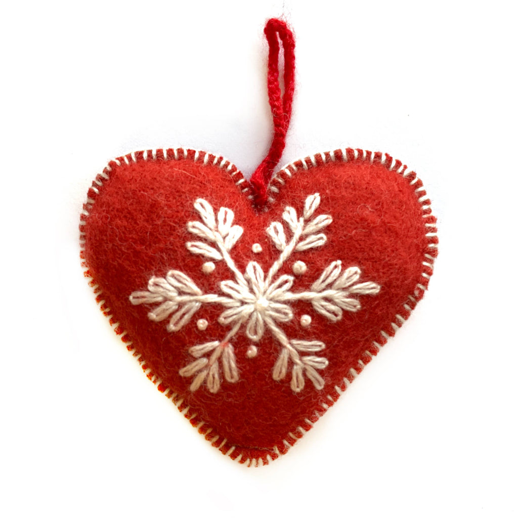 Heart Embroidered Wool Ornament
