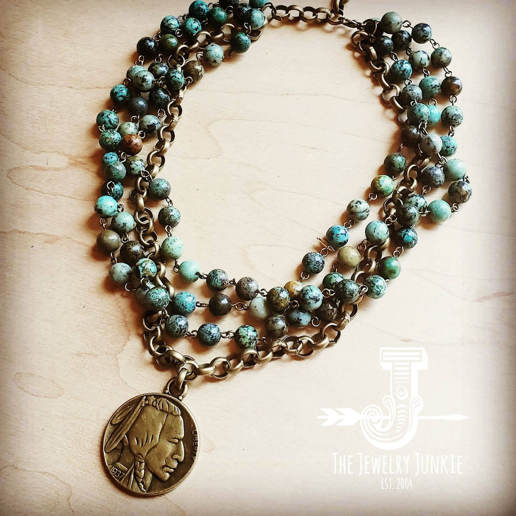 African Turquoise Collar-Length Necklace with Indian Head Co