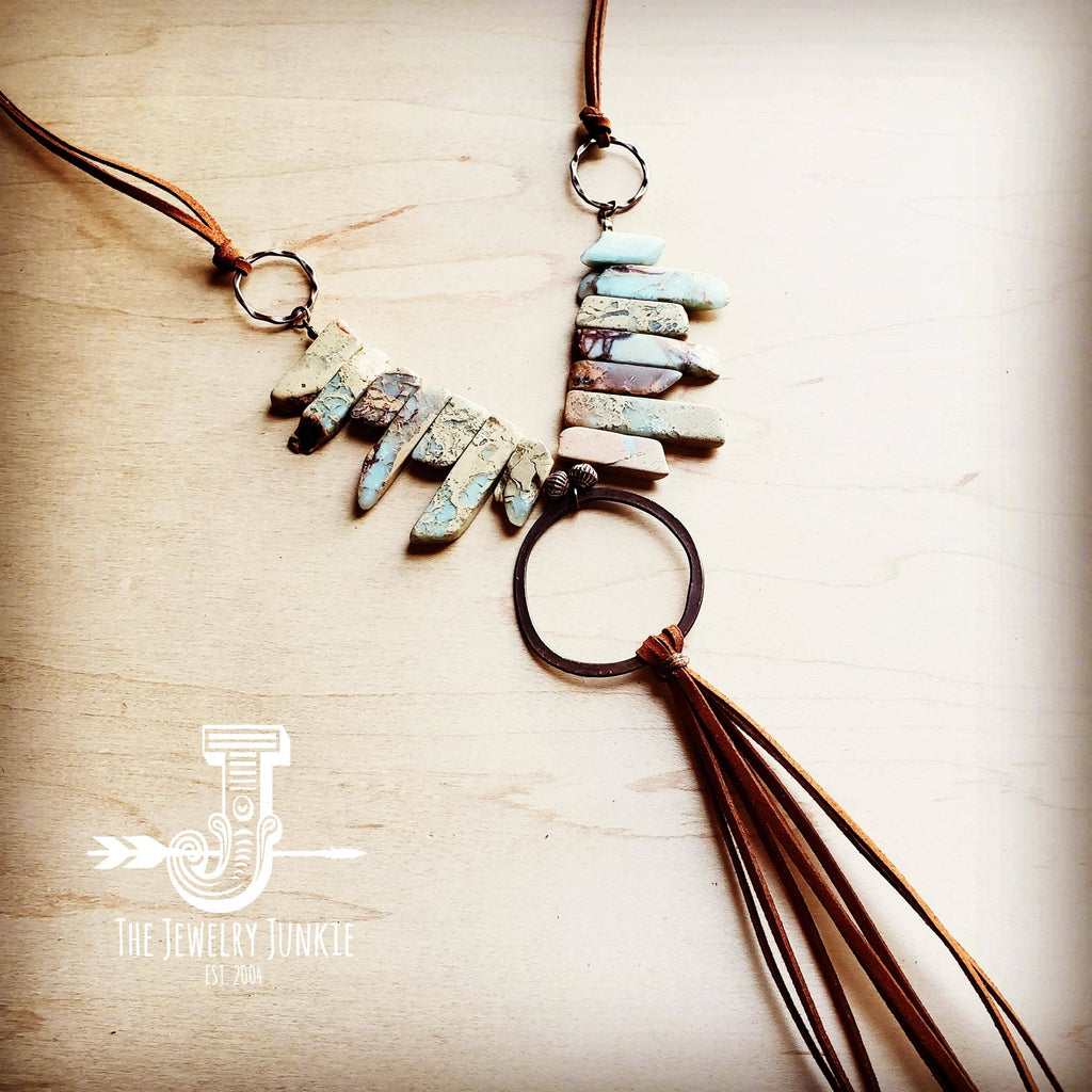 Aqua Terra Necklace w/ Hammered Copper Hoop and Long Fringe