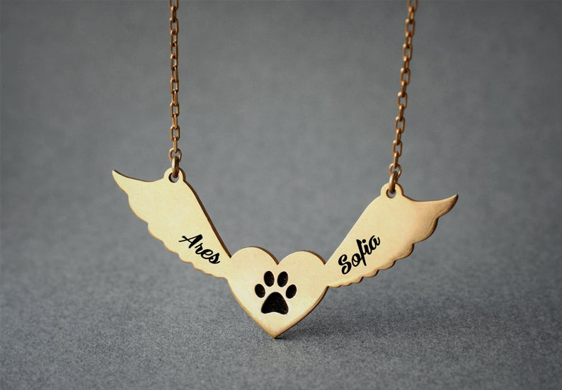 Angel Wings Engraved Necklace