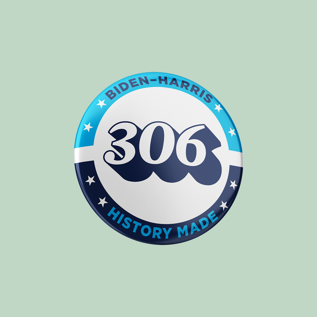 PRE-ORDER: Biden-Harris 306 Electoral Votes Button