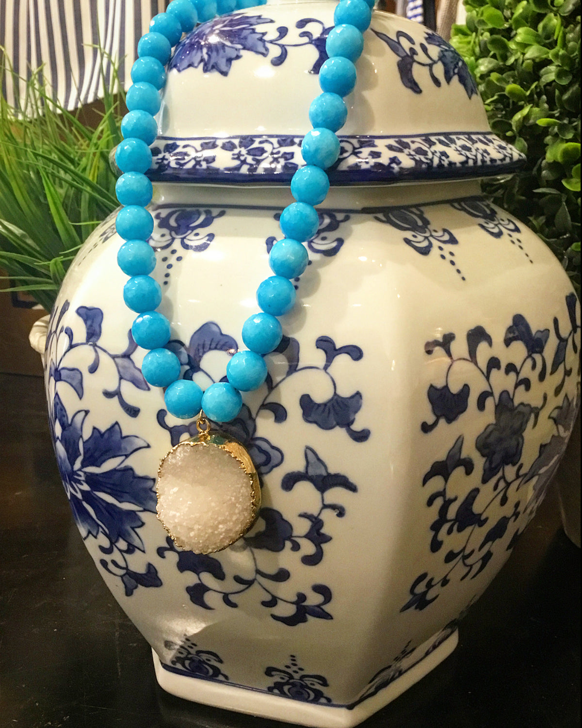Saturday Stunner: Gorgeous, Handmade Designer  Teramasu Blue Jade and White Druzy Pendant Necklace