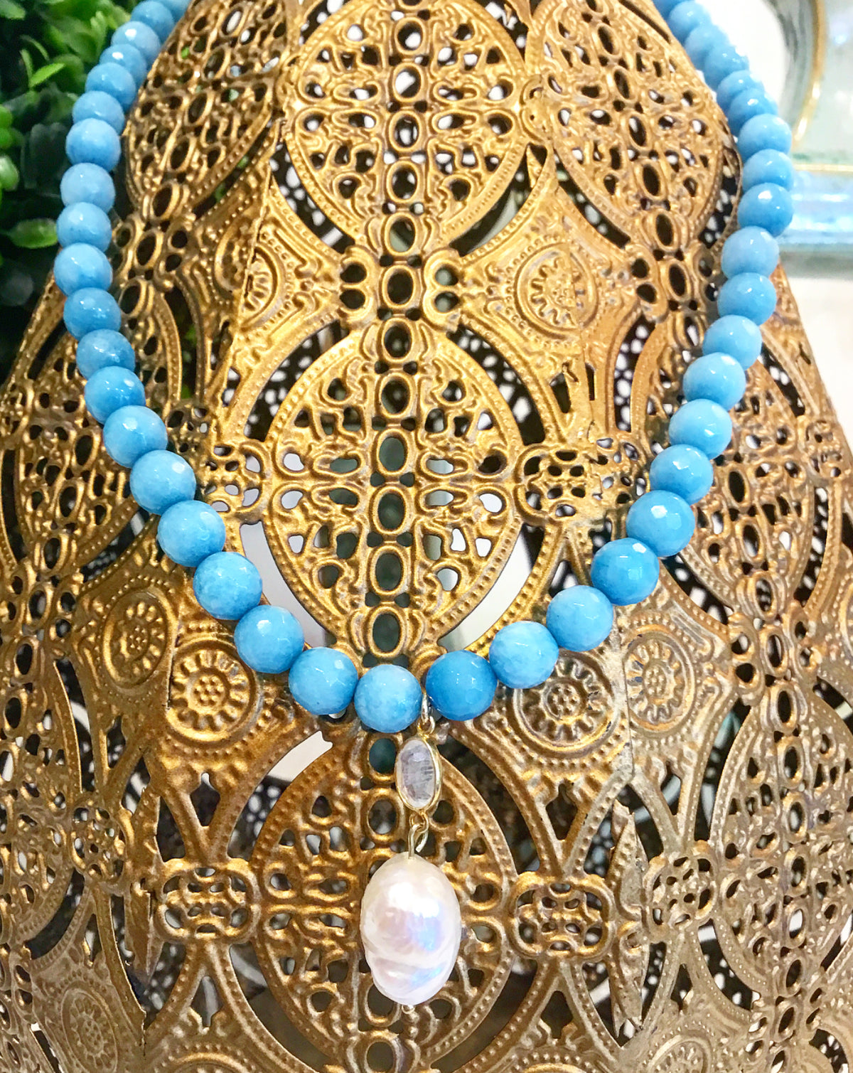 Saturday Stunner: The Gorgeous, New Teramasu Blue Faceted Jade Necklace With Baroque Pearl and Moonstone Pendant