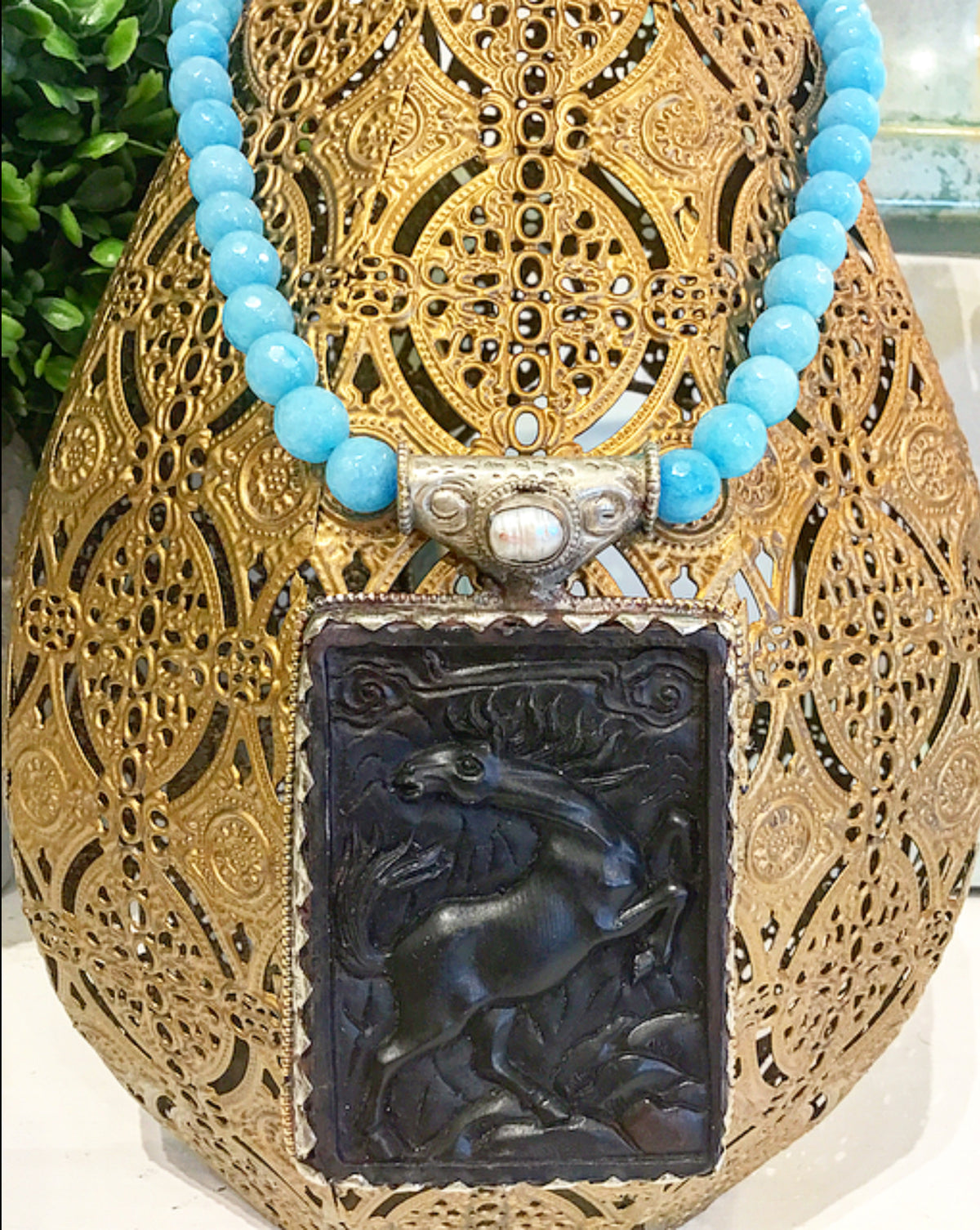 Friday Favorite: Gorgeous & New, Handmade Designer Teramasu Blue Faceted Jade Necklace with One-of-a-Kind Carved Black Horse Pendant and Pearl