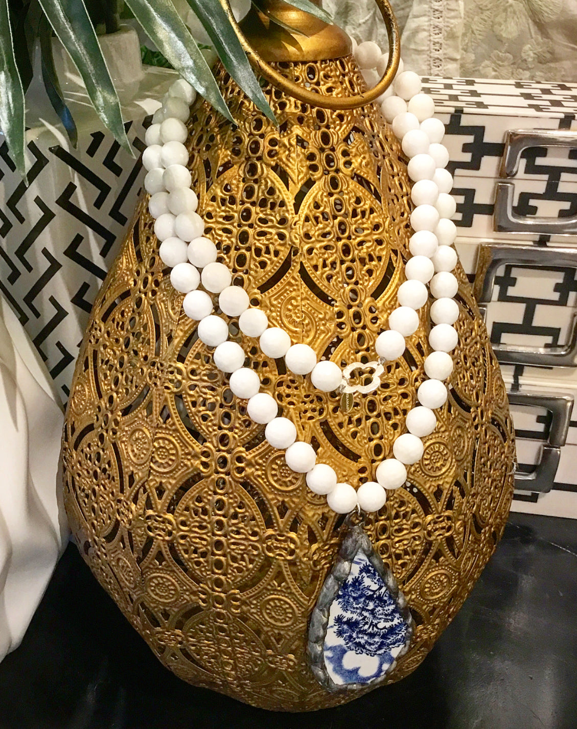 """Want It"" Wednesday: Gorgeous & New, Handmade Designer Teramasu White Agate Necklace with One-of-a-Kind Blue & White Porcelain Pendant"