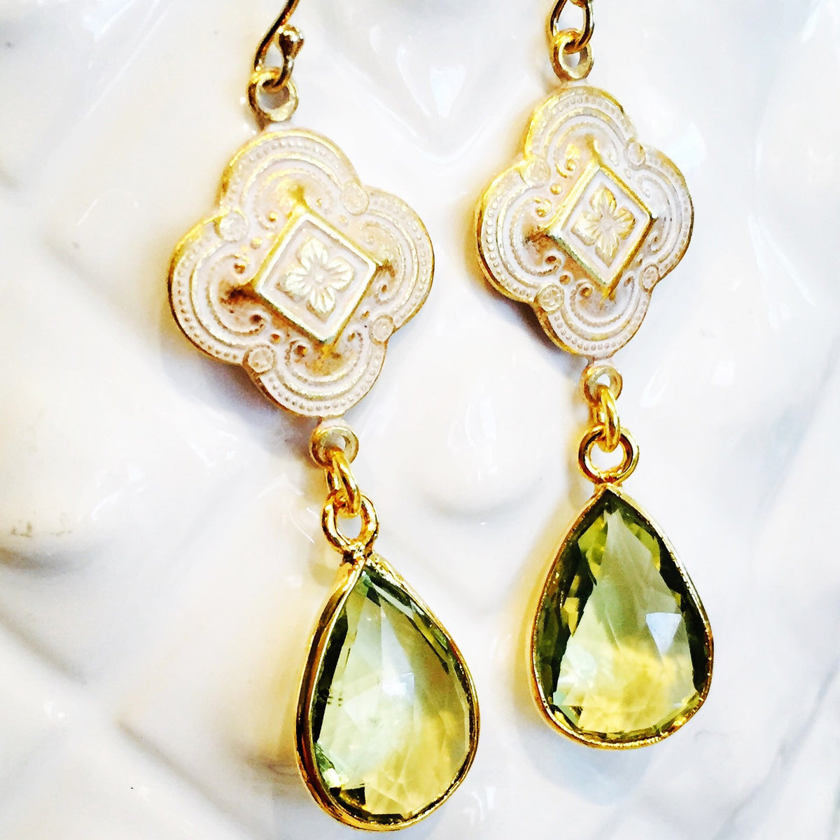 Lemon Topaz Patina Clover Drop Earrings