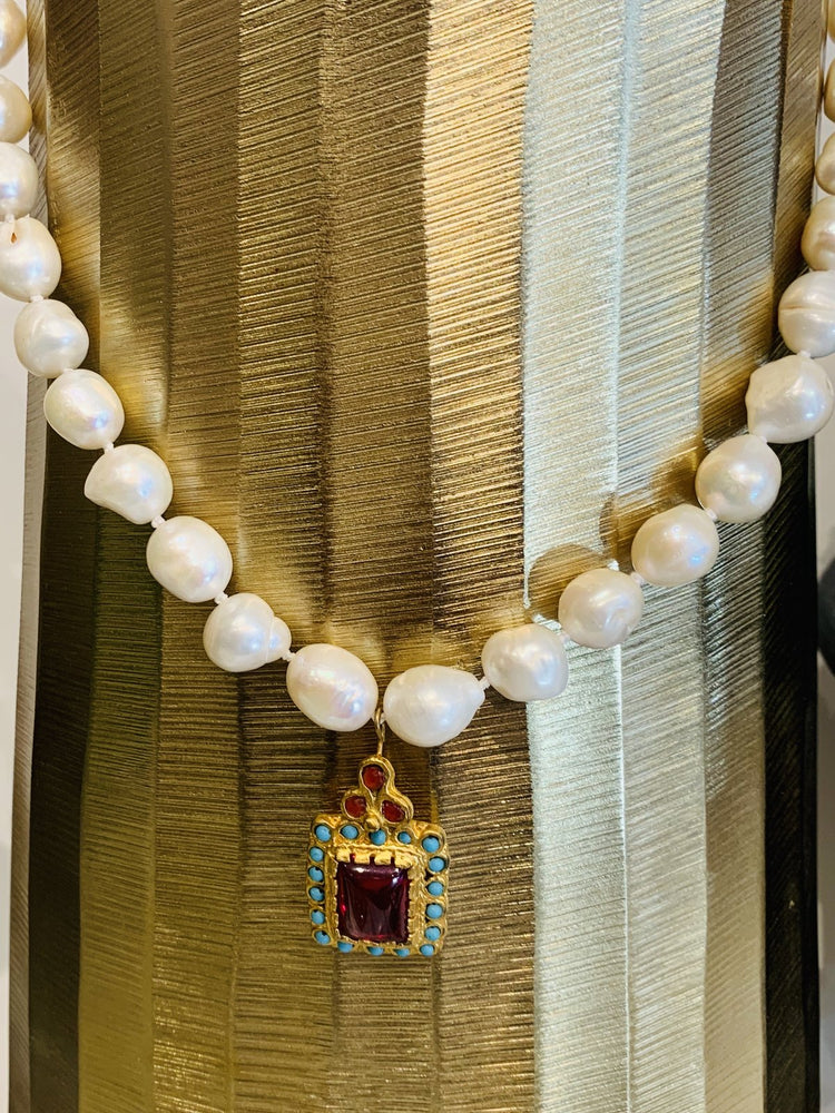 """Want It"" Wednesday: The Teramasu Pearl Necklace Turquoise Gold Red Crystal Pendant is the Perfect Statement Necklace for Your Fall Style!"