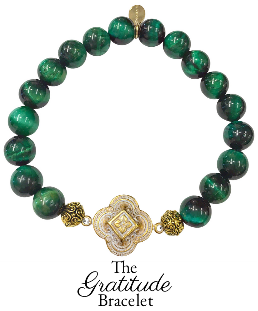 Friday Favorite: Gorgeous & New, Handmade Designer Teramasu Gratitude Bracelet in Green Tigers Eye from the Teramasu Gratitude Collection