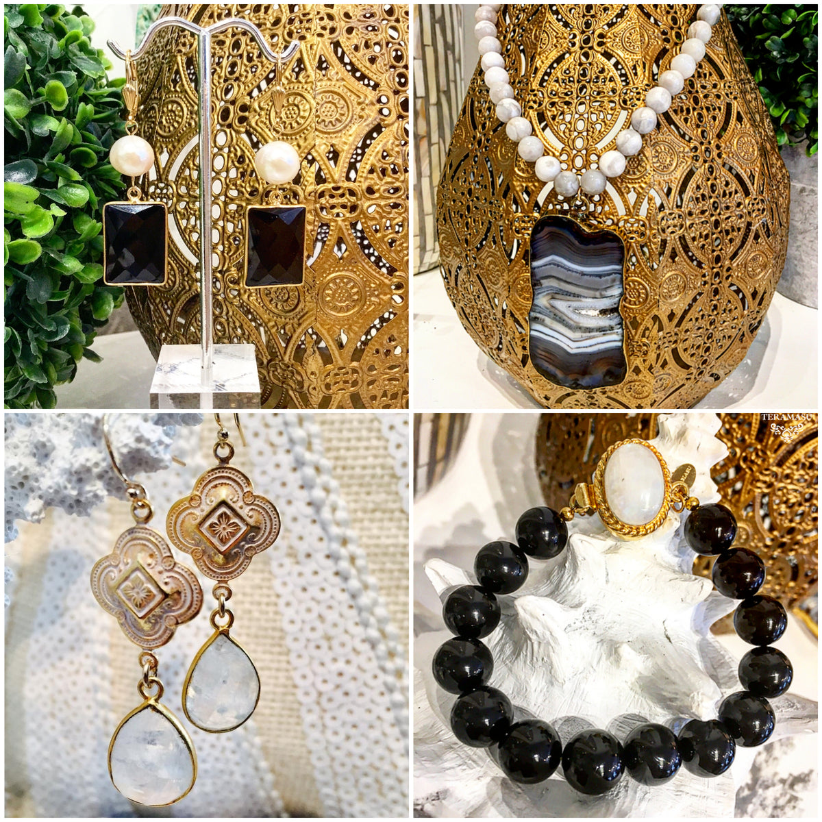 Chic Peek: Gorgeous Black & White Statement Jewelry Inspiration for Your Fall Style from Teramasu