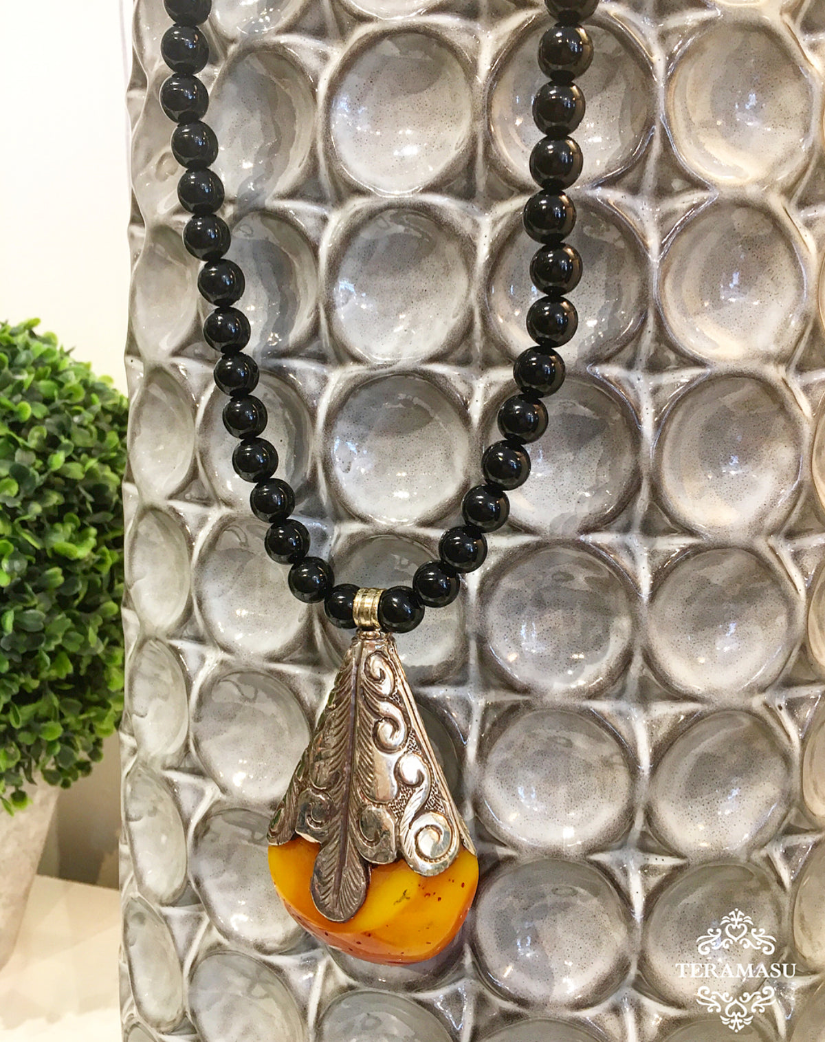 Living Ladylike: Gorgeous & New Handmade Designer Teramasu Black Onyx Necklace with One-of-a-Kind Silver and Amber Stone Pendant