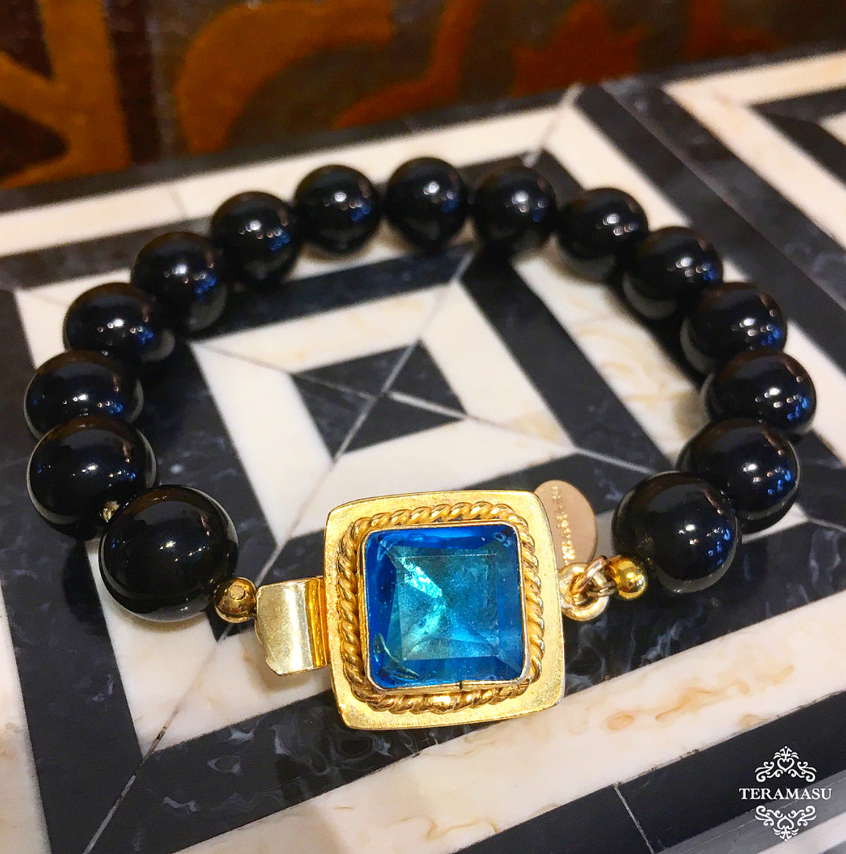 Living Ladylike: Add a Little Sparkle to Your Style with our Teramasu Black Onyx and One of a Kind Blue Crystal Stone Box Clasp Bracelet