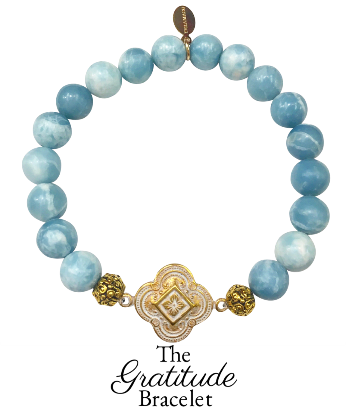 Living Ladylike; Gorgeous & New, Handmade Designer Teramasu Gratitude Bracelet in Sky Blue Larimar from The Gratitude Bracelet Collection