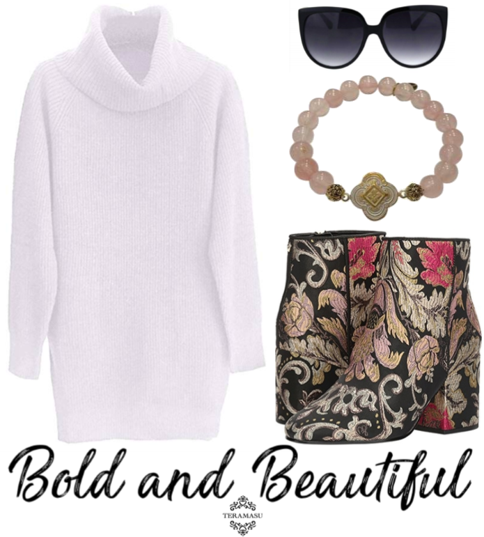 """Want It"" Wednesday: Bold and Beautiful Outfit Inspiration Featuring Our Fabulous New Handmade Designer Teramasu Gratitude Bracelet in Rose Quartz"