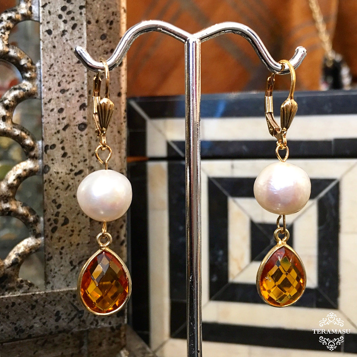 Saturday Stunner: Gorgeously Classic, Handmade Designer Teramasu Citrine and Freshwater Pearl Drop Earrings