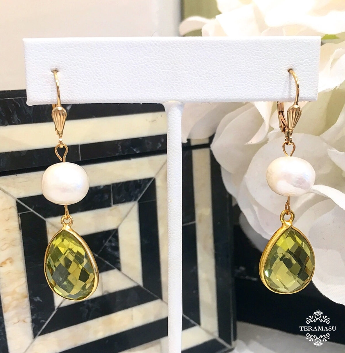 Chic Peek: Gorgeously Classic & New, Handmade Designer Teramasu Lemon Topaz and Freshwater Pearl Dangle Earrings