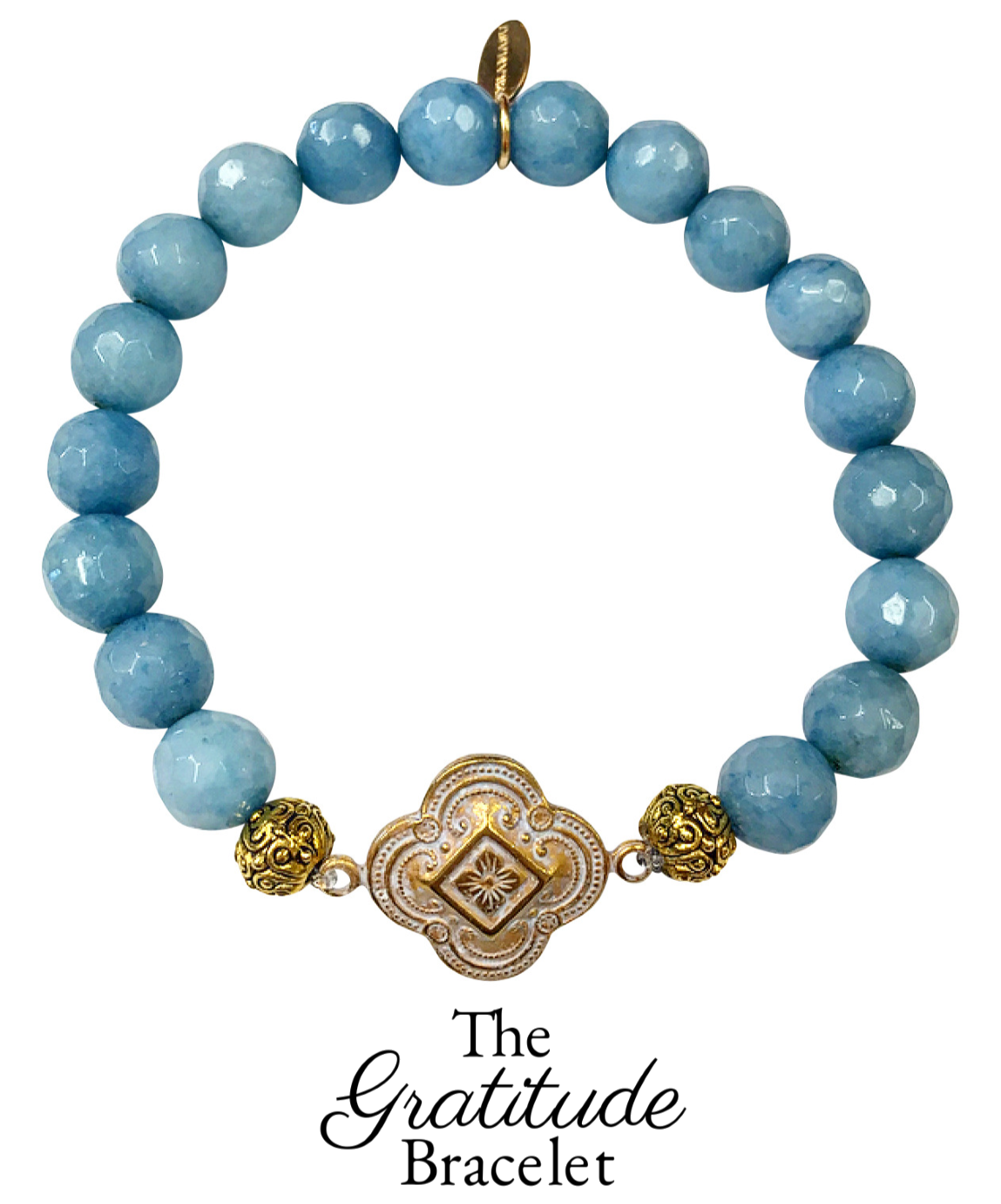 Chic Peek: Gorgeous & New, Handmade Designer Teramasu Gratitude Bracelet in Sky Blue Agate from the Teramasu Gratitude Collection