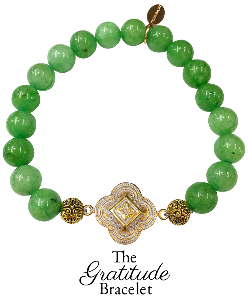 Chic Peek: Gorgeous & New, Handmade Designer Teramasu Gratitude Bracelet in Emerald Green Agate from the Teramasu Gratitude Collection