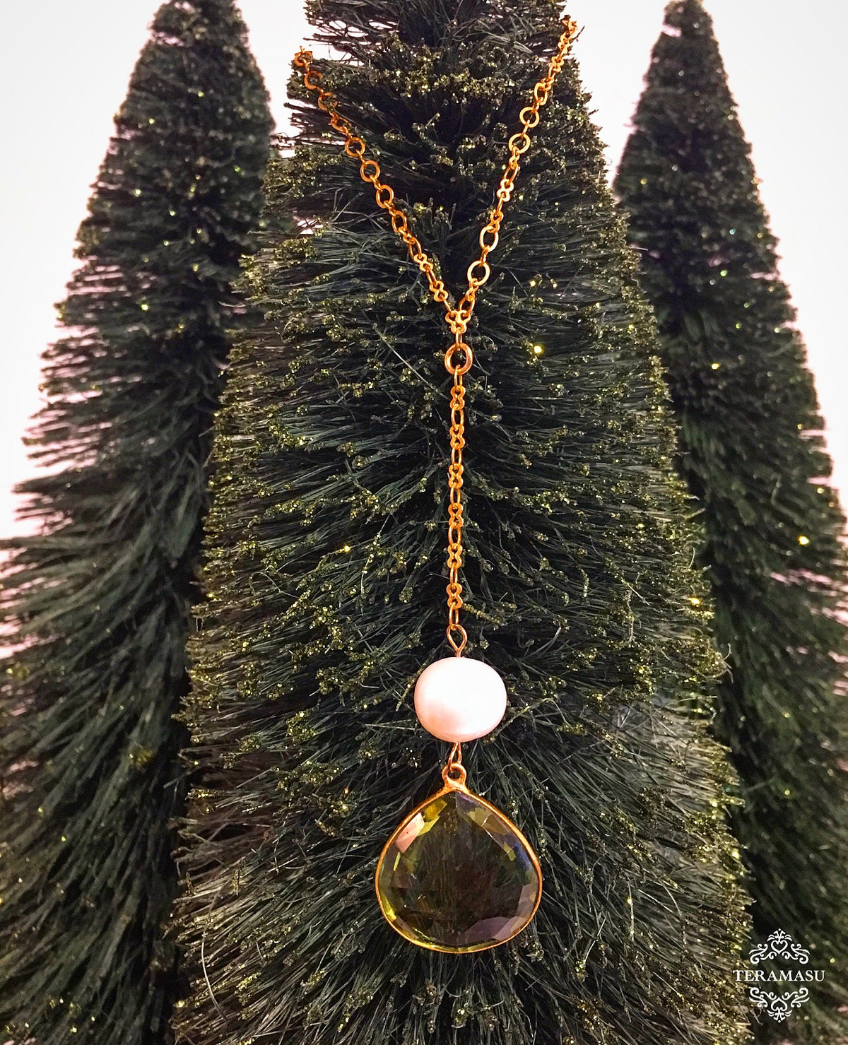 Friday Favorite: Gorgeous & New, Handmade Designer Teramasu Green Amethyst & Pearl Drop on Y Chain Gold Necklace