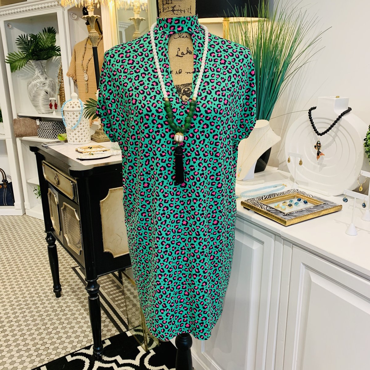 Stylin' Saturday: Gorgeous & New Teramasu Leopard Print in Green and Pink Dress