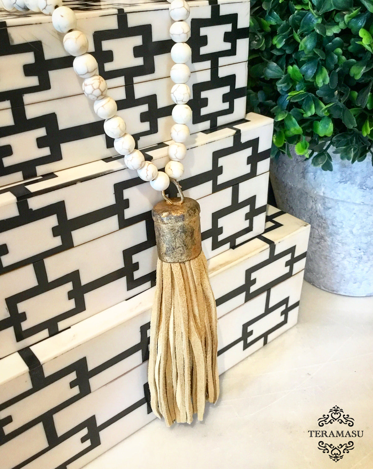 Living Ladylike: Gorgeous & New, Handmade Designer Teramasu Howlite Necklace with One-of-a-Kind, Vintage-Inspired Suede Tassel