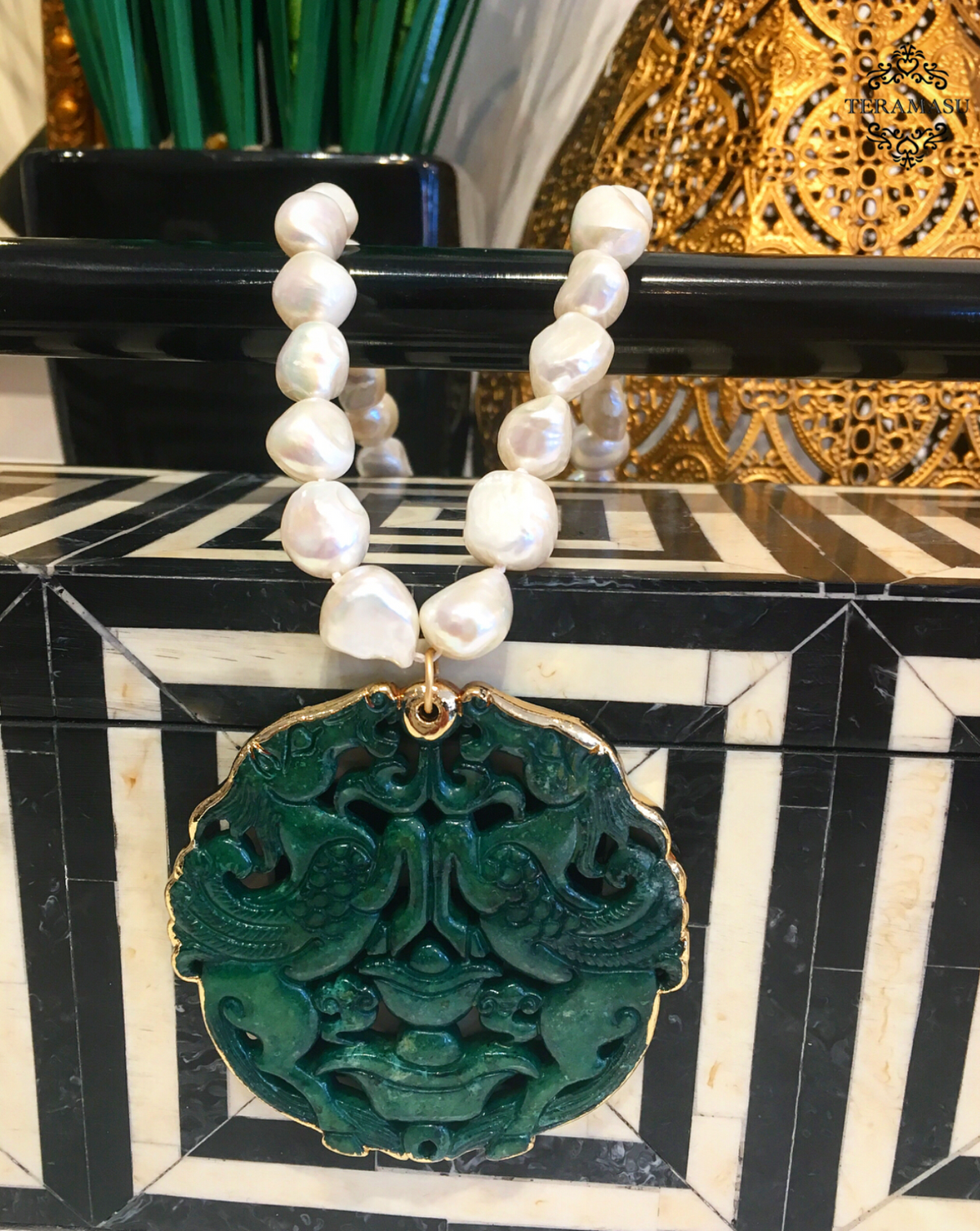 """Want It"" Wednesday: Gorgeous & New, Handmade Designer Teramasu Freshwater Pearl on Knotted Silk Necklace with Carved Jade and Gold Trim Pendant"