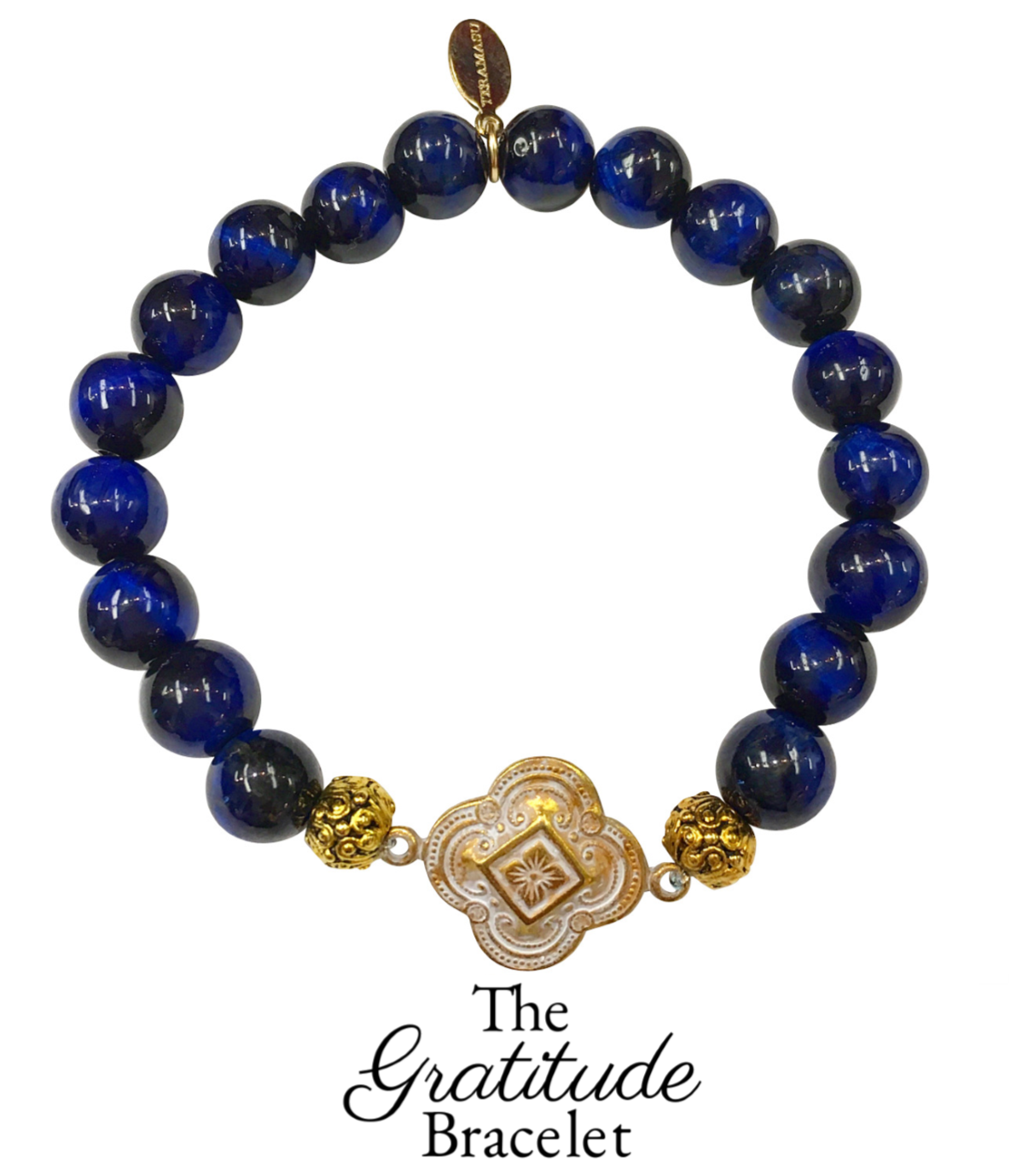 Friday Favorite: Gorgeous & New, Handmade Designer Teramasu Gratitude Bracelet in Navy Blue Tigers Eye from the Teramasu Gratitude Bracelet Collection